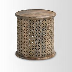 "Carved Wood Side Table (solid mango wood, 17"" across x 18"" high) - West Elm - $230"