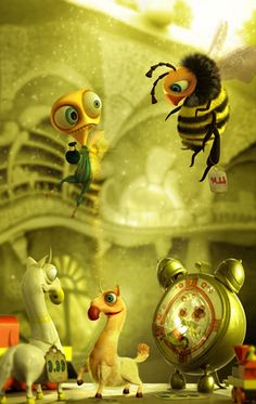 Photos - Animals, Drawings and Paintings, Green, Bees, by Soner Yurtseven…