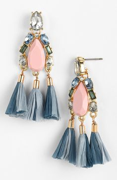 Crystal & Tassel Drop Earrings.