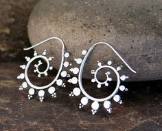 Fractal spiral sterling silver earring