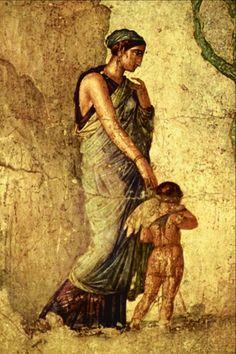 """Detalle de un fresco encontrado en Pompeya """"Eros castigado por Venus."""" Museo Nacional, Nápoles, Italia."""