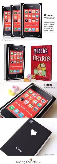 Free Printable iPhone Valentine for Kids! Livinglocurto.com