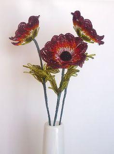 French Beaded Flower 3 Anemone Like | eBay