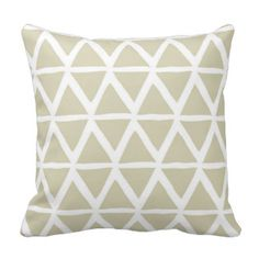 Beige Triangles Geometric Decorative Pillow