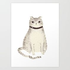 cat Art Print by Louis Roskosch. Worldwide shipping available at Society6.com. Just one of millions of high quality products available.