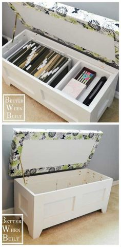 How To Build A File Storage Bench To Stow Away Your Paper Clutter - This storage bench can hold other items too. Not just paper. I took a look at the plans, they are very easy to follow so even if you aren't very good at DIY you could rustle up one of these quite easily!