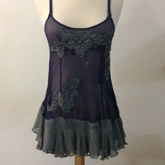Free People Purple Sheer Tunic Dress Slip XS S EUC - Super cute Free People tunic! Purple, sheer material with floral embroidery. Adjustable straps and side zipper. There is a small hole on the back, created during tag removal. Size 2 - XS S Free People Tops Tunics
