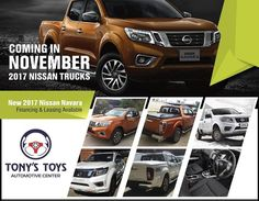 2017 Nissan Trucks will be available at Tony's Toys in November! Experience that tough exterior styling, with a premium ride and superior comfort. Smart technology features with bed liners and cargo covers. King Cab and Dual Cab models will be in stock. Click this link to learn more: https://clubsave.ky/12/companyDetails/