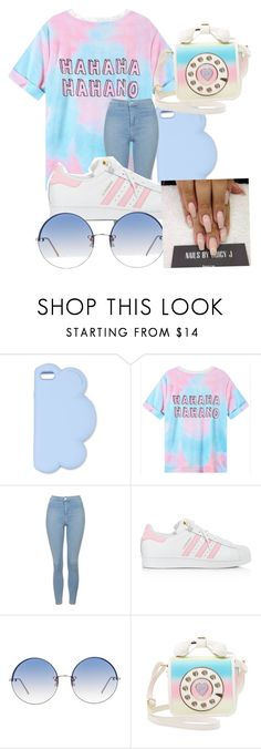 """""""Cotton Candy 🍬✨"""" by unaa21 ❤ liked on Polyvore featuring STELLA McCARTNEY, Topshop, adidas, Linda Farrow and Betsey Johnson"""