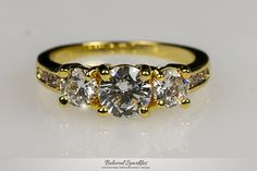 Misty Three Stone Engagement 18k Gold Ring | 3.3 Carat |Gold | Cubic Zirconia