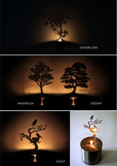 Novel LED Pine Shadow Projection Night Light Home Candle Decoration Sleeping Lamp