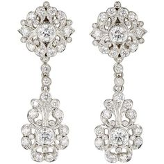 McTeigue & McClelland Women's Flora Belle Époque Double-Drop Earrings ($18,000) ❤ liked on Polyvore featuring jewelry, earrings, accessories, silver, post earrings, pave earrings, pave drop earrings, post back earrings and round drop earrings