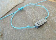 Chevron Hematite Turquoise Anklet Bracelet Adjustable