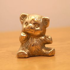 Solid Brass bear / ted Miniature  Vintage Statue  by UKAmobile