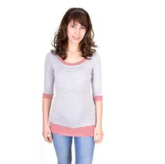 Viva la Mama | Sporty pregnancy and breastfeeding shirt LOVIS with ¾ length sleeves in grey mottled. A beautiful shirt for everyday use, maternity and pregnancy.