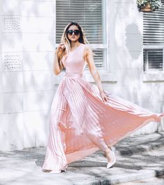 Pink Pleated Maxi Skirt - Instagram: fashionismyfortee