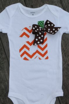 Halloween Onesie Chevron Initial Shirt by SweetCarolineCrafts, $21.99