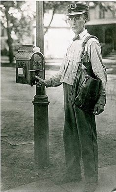 July 1 -- National Postal Worker Day -- Thank your mail carrier :) Antique Photos, Vintage Pictures, Vintage Photographs, Old Pictures, Old Photos, Post Bus, Workers Day, Going Postal, American History