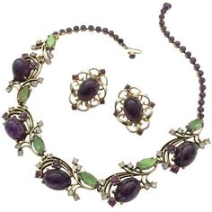 Preowned Elegant Necklace, With Matching Earrings By Elsa... ($592) ❤ liked on Polyvore featuring jewelry, necklaces, choker necklaces, grey, preowned jewelry, schiaparelli necklace, amethyst necklace, amethyst jewelry and twist jewelry