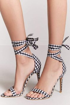 FOREVER 21 Gingham Ankle-Wrap Heels Forever 21 Shoes, Wrap Heels, Sock Shoes 8bb8d680da2