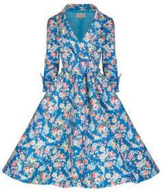 vintage blue floral print dress