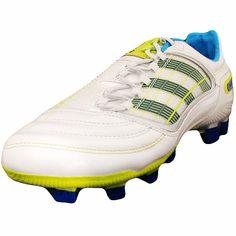 sale retailer df7d9 fd87d adidas Womens Predator X TRX FG Soccer Cleats - White Blue Neon Adidas  Predator