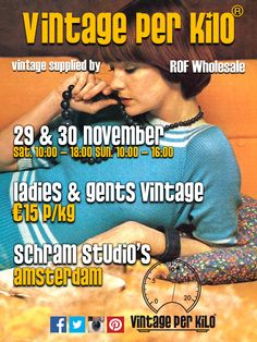 29 & 30th of November @Vintageperkilo will be in Schram Studio's Amsterdam, new stock, €15 euro per kilo, Ladies and Gents Vintage.