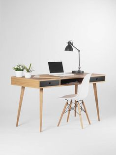 Desk computer desk office desk large desk desk with black Office Table, Home Office Desks, Home Office Furniture, Furniture Design, Computer Desk Design, Computer Armoire, Home Office Branco, Desk Redo, Mid Century Desk