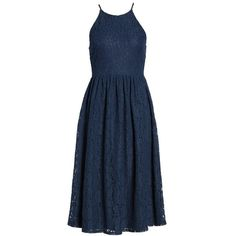 Women's Soprano High Neck Lace Midi Dress ($52) ❤ liked on Polyvore featuring dresses, navy, blue cocktail dress, navy blue lace cocktail dress, blue formal dresses, navy lace dress and party dresses