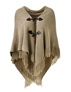 New Trending Outerwear: Ferand Women's Loose Fitting Poncho Cape Shawl with Stylish Horn Buttons, V Neckline and V Hem, Khaki. Ferand Women's Loose Fitting Poncho Cape Shawl with Stylish Horn Buttons, V Neckline and V Hem, Khaki   Special Offer: $18.99      300 Reviews Timeless Piece For Any Season Trends change season to season but having this poncho in your wardrobe will prove to be such a great fashion...