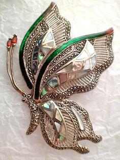 Vintage Gemstone Butterfly Statement Brooch Sterling by RareBeauty, $250.00