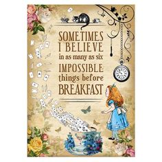 Alice in Wonderland Party / Mad Hatter Tea party Vintage A4 Art Print, Quote