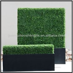 Sleek Realistic Artificial Hedges Outdoor Faux Hedges Fake Boxwood Hedges Privacy Hedges with black box/FRP planter $100~$500