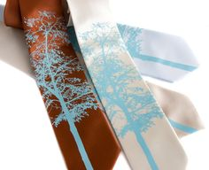 Tie I'm surprising him with, only in our colors. probably a mint tie with an orange tree.  Mountain Aspen necktie silkscreened screen printed necktie - Cyberoptix Tie Lab