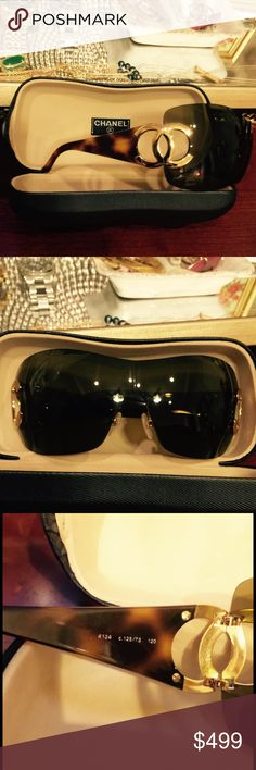 🎉FLASH SALE🎉100% authentic Classic CHANEL 100% authentic, in perfect condition, tortoise shell with gold CC's- Chanel Sunnies. These are absolutely fabulous! Ask all questions, and they come with the original Chanel case. Extra pics of glasses being worn in closet!!! 😎----Classic Chanel 👑 MY ABSOLUTE LOWEST $ Chanel Accessories