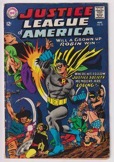 Justice League of America, Vol 1, 55, Silver Age Comic Book. VG- (3.5). August 1967.  DC Comics #justiceleague #crisis #robin #silveragecomics #comicsforsale