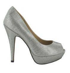 Zapato Peep Toe alto en Plateado. Brillante y llamativo. Ref.6526  //High Peep Toe platform heel in Silver. Shiny and striking. Ref.6526