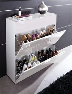 Primera White 3 Drawer Shoe Cabinet,   Buy Modern Shoe Storage Cabinet,  Cupboard, Furniture In Fashion;