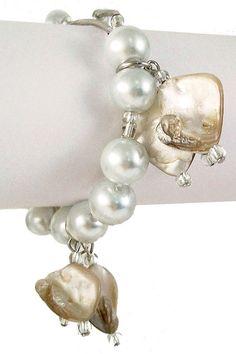 Pearl n' stone dangle bracelet