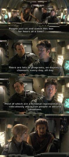 Stargate Atlantis - John and Rodney explaining TV to Teyla and Ronan.