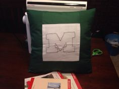 Monogrammed pillow Monogram Pillows, Paper Shopping Bag, Bags, Home Decor, Handbags, Decoration Home, Room Decor, Totes, Interior Design