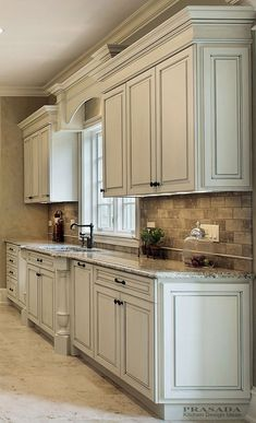 Cool Kitchen Cabinet Paint Color Ideas Antique White Cabinets with Clipped Corners on the Bump Out Sink, Granite Countertop, Arched Valance.Antique White Cabinets with Clipped Corners on the Bump Out Sink, Granite Countertop, Arched Valance. Kitchen Corner, Kitchen Redo, Rustic Kitchen, Kitchen Ideas, Kitchen White, Shaker Kitchen, Kitchen Modern, Corner Sink, Kitchen Designs