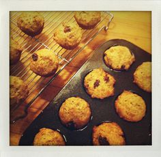 Raisin bran cereal made into muffins.