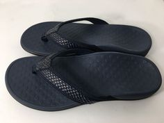 519f1f811 Vionic Tide II Orthaheel Flip Flops Navy Leather Women s Sandals Size 8 US