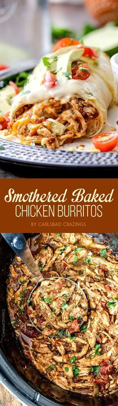 Smothered Baked Chicken Burritos | 21 Easy Chicken Dinners That Are Tasty AF