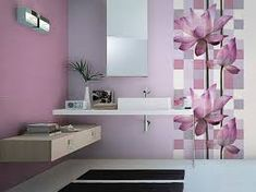 The biggest advantage of using the purple color in the bathroom your bathroom, no matter how small, will have an upscale look through shades of purple that is. Shades Of Purple, Floating Nightstand, Tiles, Gallery Wall, Bathroom, House, Furniture, Painting Walls, Home Decor