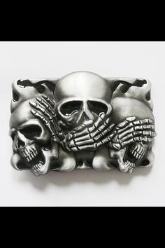 Hear no evil, speak no evil, see no evil. Skull belt buckle