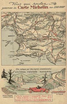 Publicité de 1914 issue de la 4éme de couverture de la Petite Illustration. Un exemplaire d'une des premières publicités vantant les qualités de la carte Michelin au 200 000éme dont les premières feuilles furent publiées en 1910.