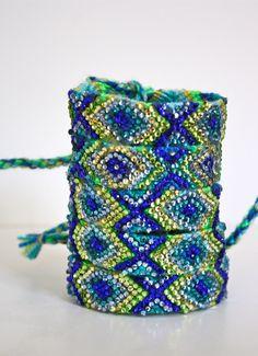The Original Swarovski Crystal Friendship Bracelet-  Blue Bell Design ( Blue, Yellow, Green & Silver). $50.00, via Etsy.