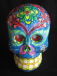 Day of the dead Skull 2  Paper Mache skull made by Great Master of Mexican Folk Art Felipe Linares